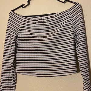 striped, off the shoulder crop top